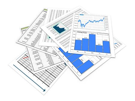 financial gains: 3d render of various financial reports and sheets
