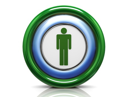 push room: 3d render of male symbol icon Stock Photo