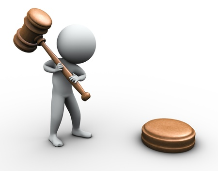3d render of man with wood gavel photo