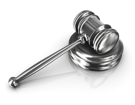 3d render of steel court room gavel Stock Photo - 12425208