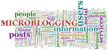 Illustration of microblogging word clouds illustration