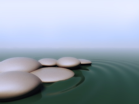 3d render of pebbles in water photo