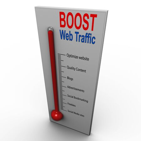 website traffic: 3d render of boost web traffic thermometer Stock Photo