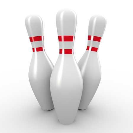 bowling pin: 3d render of bowling pins Stock Photo