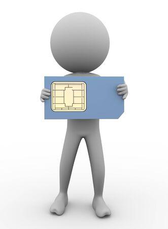 prepaid: 3d render of man holding sim card Stock Photo