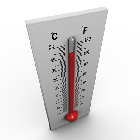 warm up: 3d render of thermometer on white background