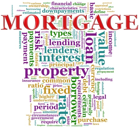 granting: Illustration of Wordcloud contains Words related to mortgage Stock Photo