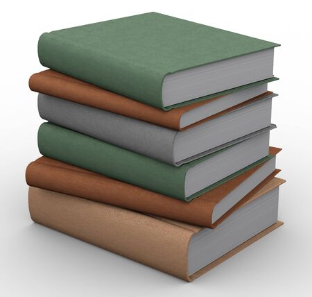 renders: 3d renders of books on white background