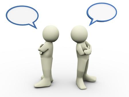 unterschiede: 3D-Darstellung von zwei Personen mit anderer Meinung Blase Rede