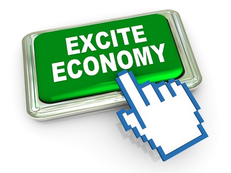 excite: 3d render of reflective shiny excite economy button  Stock Photo