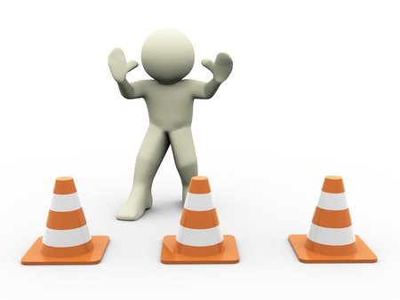 boundaries: 3d render of man in warning position standing behind traffic cones