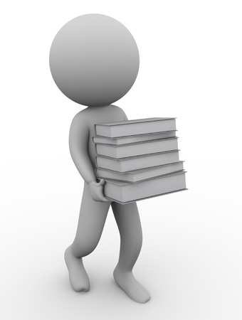 3d render of man carrying books photo