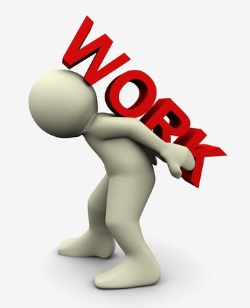 arbeiten: 3D-Darstellung von Mann, der Text der Arbeit auf dem R�cken