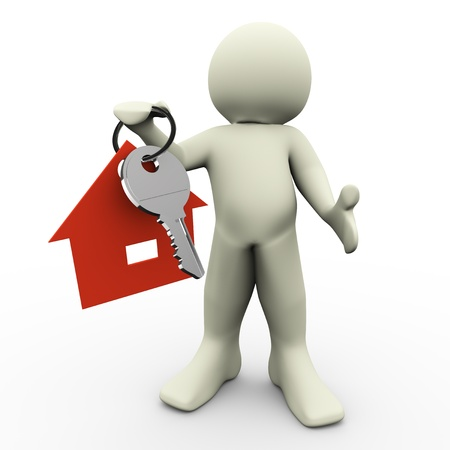 3d render of man holding house keychain in his hand photo