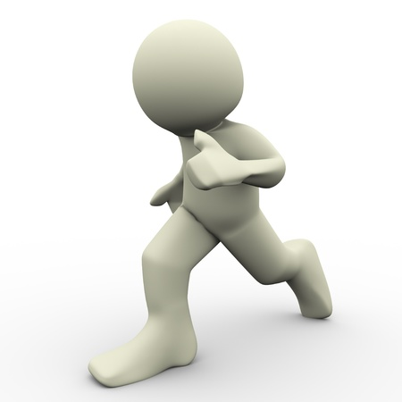 fast forward: 3d render of man running on white background