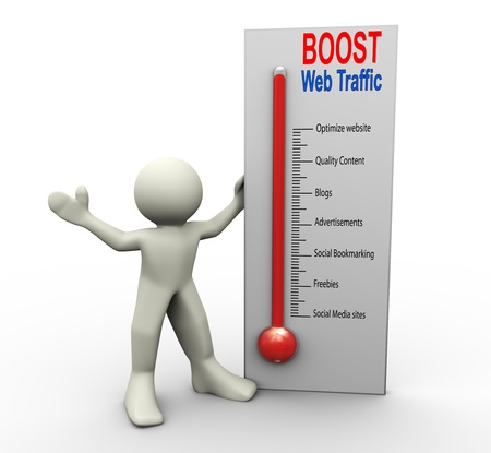 content page: 3d man with boost web traffic thermometer Stock Photo