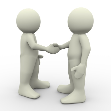 negotiation business: 3d render of two man shaking hands Stock Photo