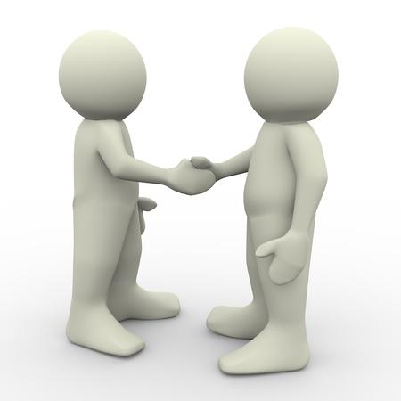 n�gocier: Rendu 3D de deux hommes se serrant la main Banque d'images