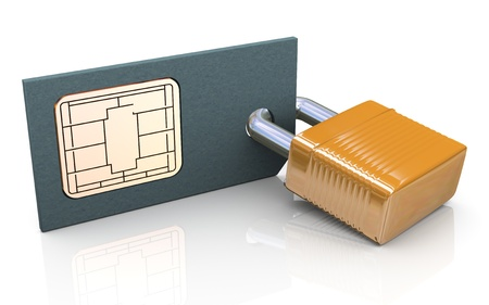 locked: 3d render of simcard protection concept