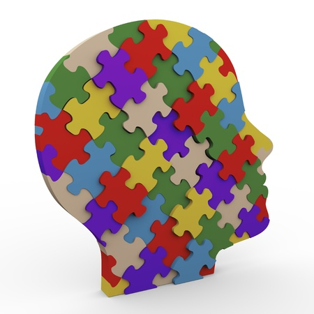 peace of mind: 3d render of human head made up of puzzle peaces Stock Photo