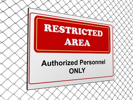 restricted area: 3d render of restricted area notice on fence chain