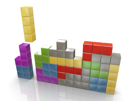 3d render of class tetris puzzle game photo