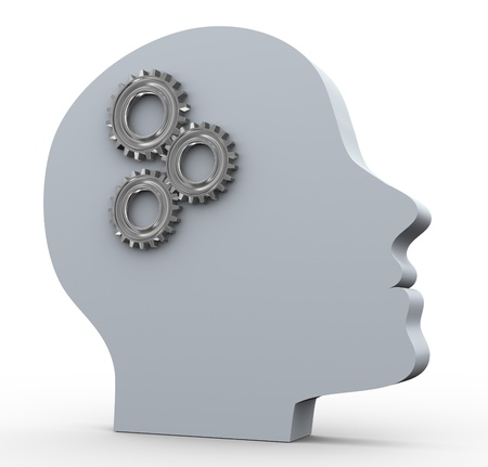 expertise: 3d render of human head with gear  Concept of intelligence and thought process
