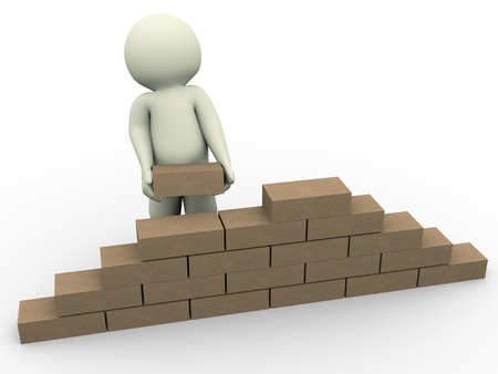 3d render of man constructing wall with the help of bricks photo