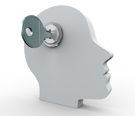 3d render of human head with key photo