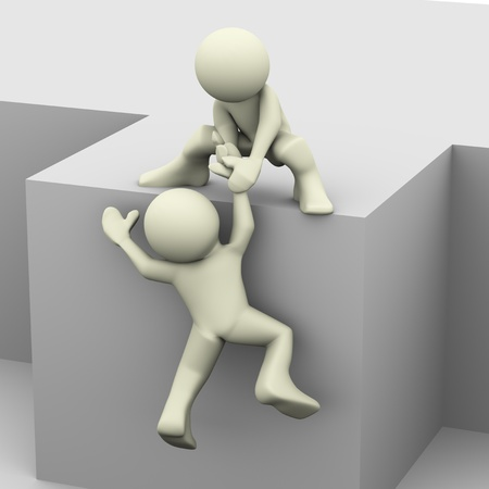 helpful: 3d render of man helping another person Stock Photo
