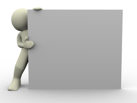 3d render of man with empty board Stock Photo - 12832552