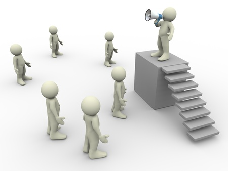 3d people - render of man speaking in front of crowd Stock Photo - 12885203