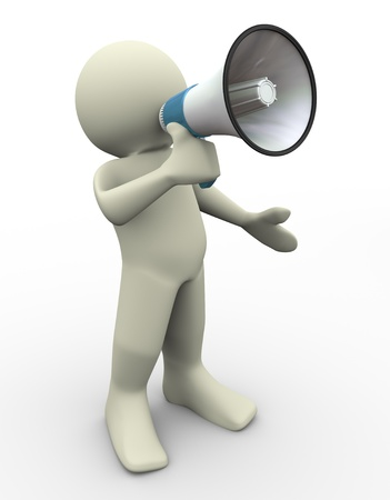 shouting: 3d render of man with megaphone