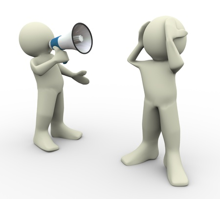 man yelling: 3d render of man yelling with megaphone Stock Photo