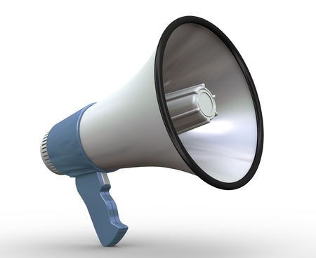 3d render of detailed megaphone on white background photo