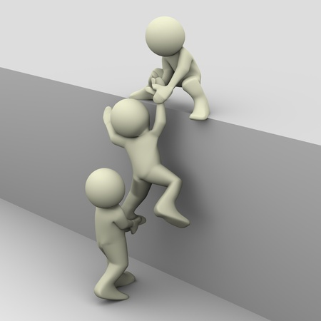 3d render of people helping photo