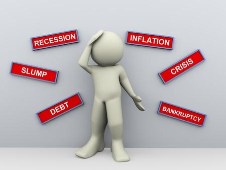 decepción: 3d del hombre de negocios preocupado financieramente molesto