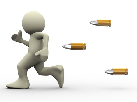 afraid man: 3d render of bullets chasing running man  3d illustration of human character