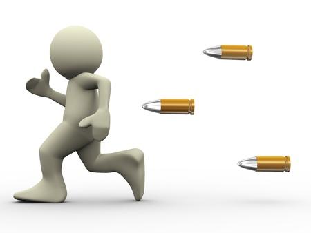 fear cartoon: 3d render of bullets chasing running man  3d illustration of human character