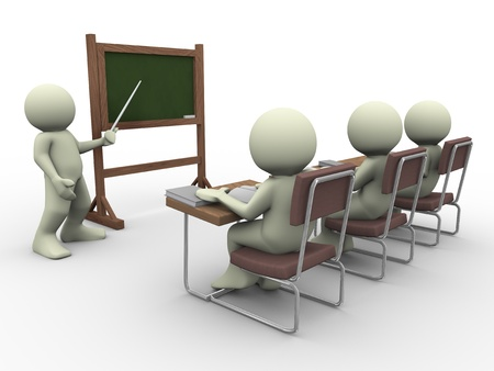 leadership training: 3d render of teacher teaching students in class room
