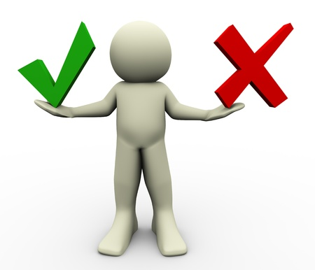 the concept is correct: 3d render of man with correct and wrong symbols  illustration of human character Stock Photo