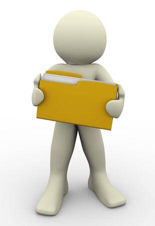 file transfer: 3d render of man holding folder  3d illustration of human character