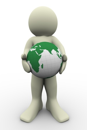 world in hand: 3d man holding globe in his hand  3d illustration of human character