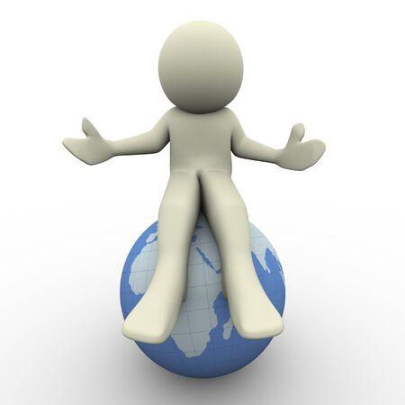 symbols metaphors: 3d render of man sitting on globe  3d illustration of human character