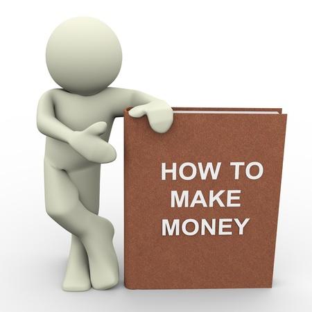 earn: 3d del hombre con la forma de hacer dinero de libro de car�cter humano 3d ilustraci�n Foto de archivo