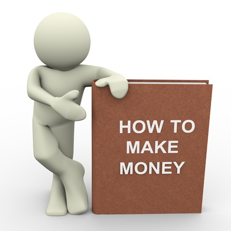 grow money: 3d render of man with  how to make money  book   Human character 3d illustration