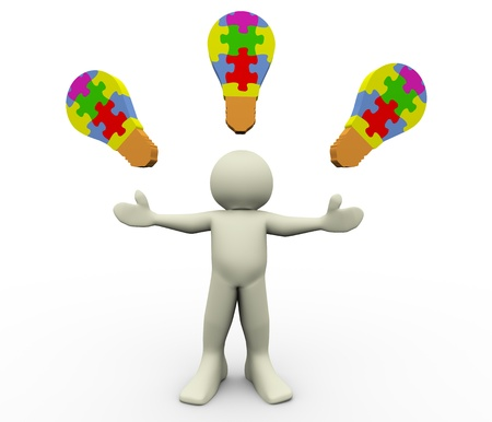 pensamiento estrategico: 3d del hombre con la ilustración del rompecabezas 3d bombilla del carácter humano
