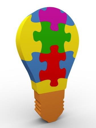 pensamiento estrategico: 3d de la bombilla colorido rompecabezas