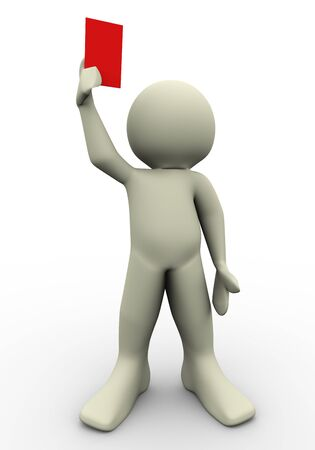 3d referee showing red card  3d illustration of human character  Stock Illustration - 12832582