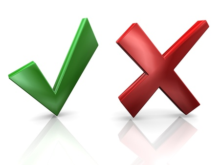 POSITIVE NEGATIVE: 3d render of yes and no sign  Concept of decision making  Stock Photo